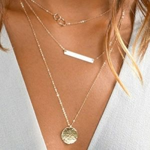 Gold tone triple layer coin,bar,circle  necklace